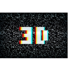 Stereo effect 3d text on noisy tv screen vector