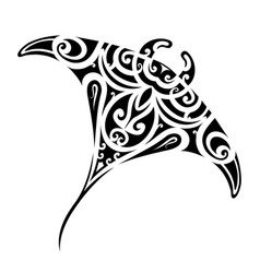 Stingray tattoo shape vector