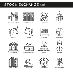 Stock exchange linear icons vector