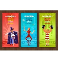 Travelling circus show flat banners set vector