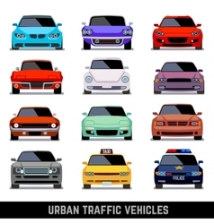 Urban traffic vehicles car icons in flat style vector image vector image