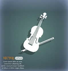 Violin icon On the blue-green abstract background vector image vector image