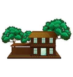 Wooden house with trees vector