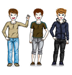 Young teen boys cute children group standing vector