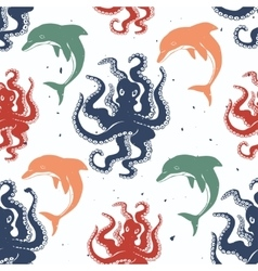 Octopus and dolphin seamless pattern vector image