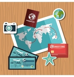 Travel set equipment isolated icons vector