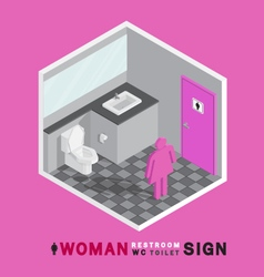 Woman toilet sign in restroom isometric vector