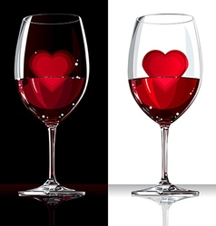 Wine glass with red and heart inside vector