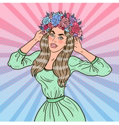 Pop Art Beautiful Woman in Love with Flower Wreath vector image