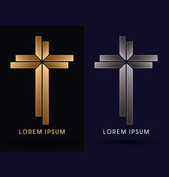 Gold and silver cross vector