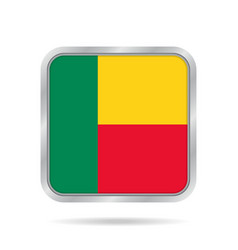 Flag of benin shiny metallic gray square button vector