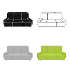 Green couch icon in cartoon style isolated on vector