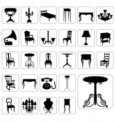 Antique furniture set vector