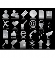 Icons set on the black vector