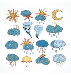 Doodle weather forecast design elements vector image