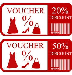 20 and 50 discount vouchers vector