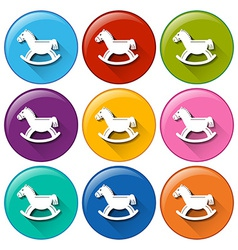 Round buttons with horse toys vector