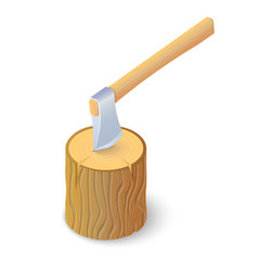 3d axe stuck in tree trunk isometric vector image