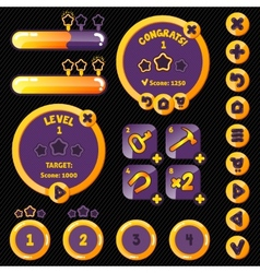 Golden stylish game interface woth level vector