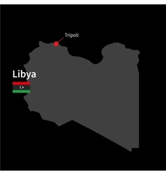 Detailed map of libya and capital city tripoli vector
