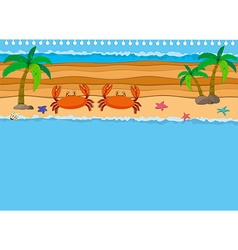 Border design with crabs on the beach vector image