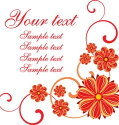 Red floral design with text space vector