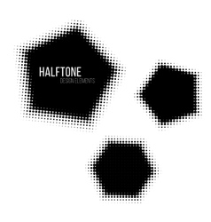 Black geometric halftone design elements vector image vector image