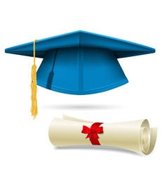 Cyan mortarboard and diploma - graduation cap vector image