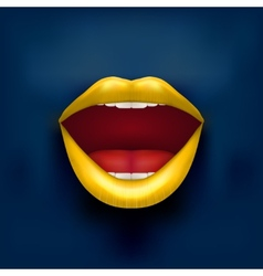 Dark background of womans mouth with open lips vector