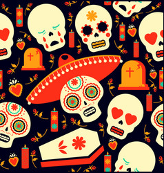 Day of the dead mariachi skull emoji background vector
