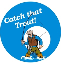 Fly fisherman fishing catching trout fish rod reel vector image
