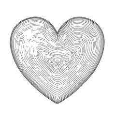 Heart symbol hand drawn like fingerprint print vector