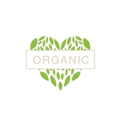 Heart With Text In Middle Organic Product Logo vector image vector image