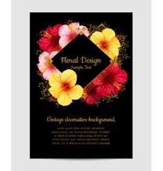 hibiscus flower invitation card vector image vector image