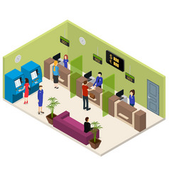 interior bank office isometric view vector image vector image
