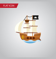 isolated pirate flat icon vessel element vector image vector image