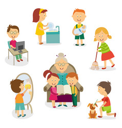 Kids children doing home activities chores vector