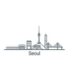outline seoul banner vector image