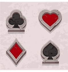 Poker icons stone texture card suit vector