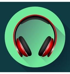 Realistic headphones icon Flat design vector image