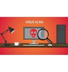 scan computer virus with red skull and pc vector image vector image