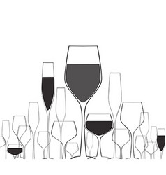 Silhouettes wine glasses vector