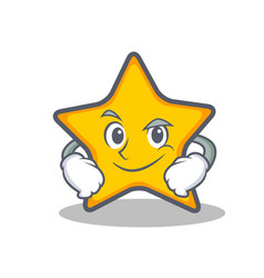 Smirking star character cartoon style vector