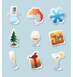 Sticker icons for christmas vector image