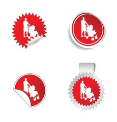 sticker with father and baby vector image vector image
