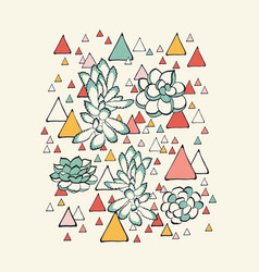 Succulent and triangles pattern vector