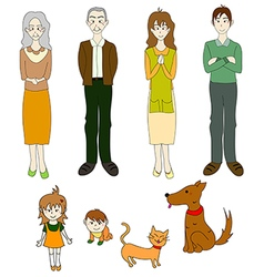 Three generation familys with cat dog color vector