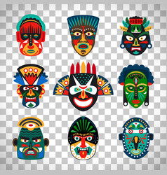 tribal indian or african colorful masks vector image