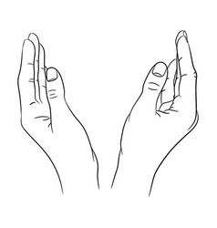 Two womens hands apart from black contour vector