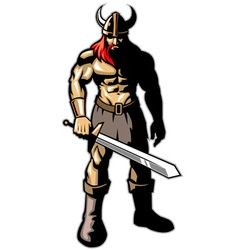 Viking warrior with big sword vector image vector image
